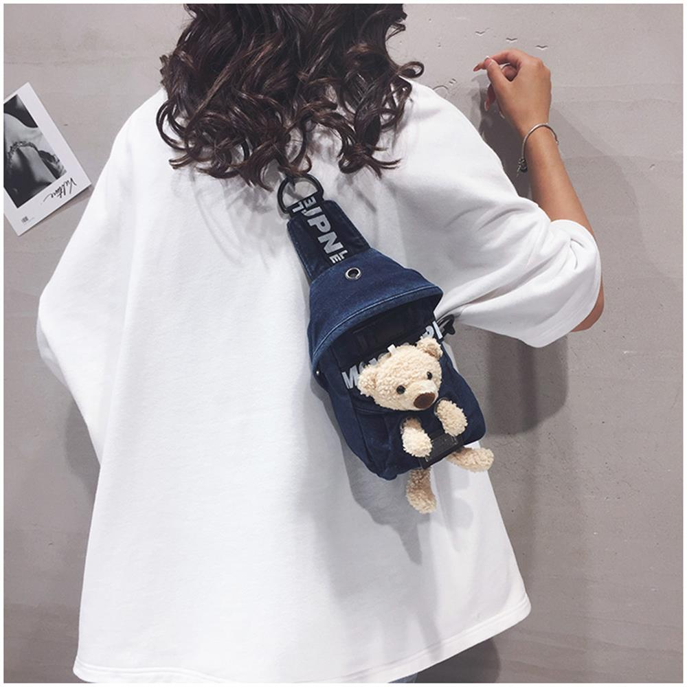 2021 Women Jean Shoulder Crossbody Bags with Cute Toy Pendant on for Girls and Kids