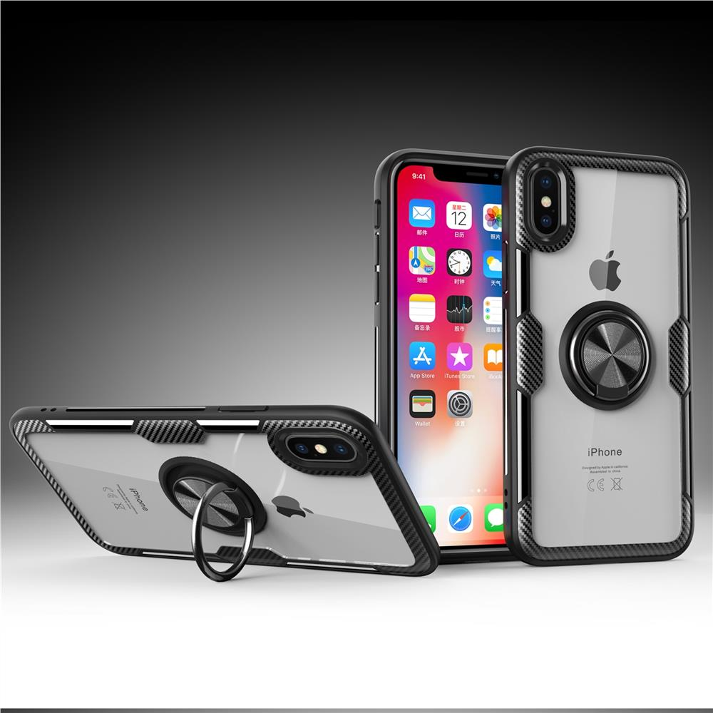 Acrylic Glass Carbon Ring Holder Phone Case